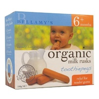 Bellamy's Organic Milk Rusks Toothiepegs 100g For Babies, Toddlers; Teething