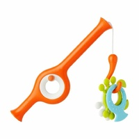 Boon Bath Fun Toys- Cast Fishing Pole - Tangerine / Multicolor