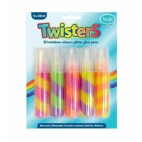 Boyle Glitter Glue Paint Twisted Colours 5 x 20ml Perfect for Arts and Crafts