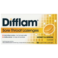 Difflam Lozenges Sugar Free Honey & Lemon 16 Anti Inflammatory Bacterial