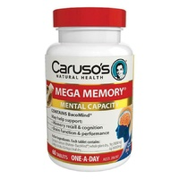 Carusos Mega Memory Tablets 60 Contains clinically trialed BacoMind