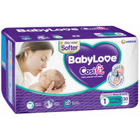 Babylove Nappies Newborn - 30 Pack Wetness Indicator 12Hr Absorption