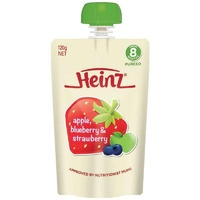 Heinz Apple Blueberry & Strawberry Pouch 120g 8m+ Baby Food Travel Easy