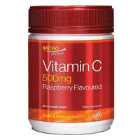 Microgenics Vitamin C 500mg Raspberry Flavoured 200 Tablets Reduce Cold Symptoms