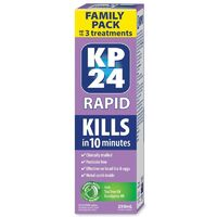 KP24 Rapid Family Pack 250mL 3 Treatments with Metal Comb Kill Head Lice & Eggs