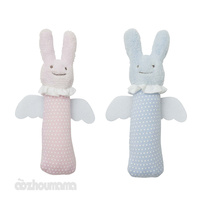 Trousselier Signature Bunny Angel Rattle Squeaker Soft Toy for Baby Infant