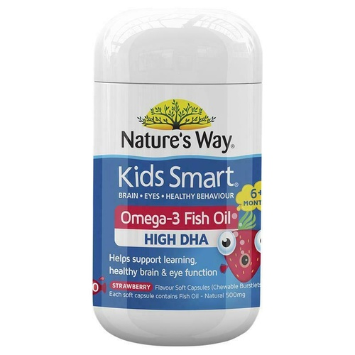 Nature's Way Kids Smart Omega 3 Fish Oil Strawberry 50 Capsules - DHA