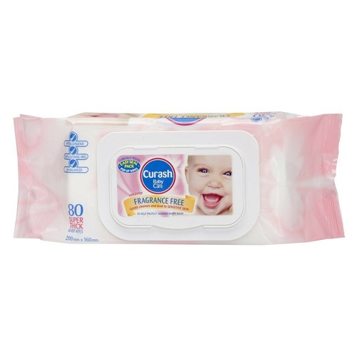 Curash Baby Wipes Fragrance Free Refill 80 Hypoallergenic, Soap & Alcohol free